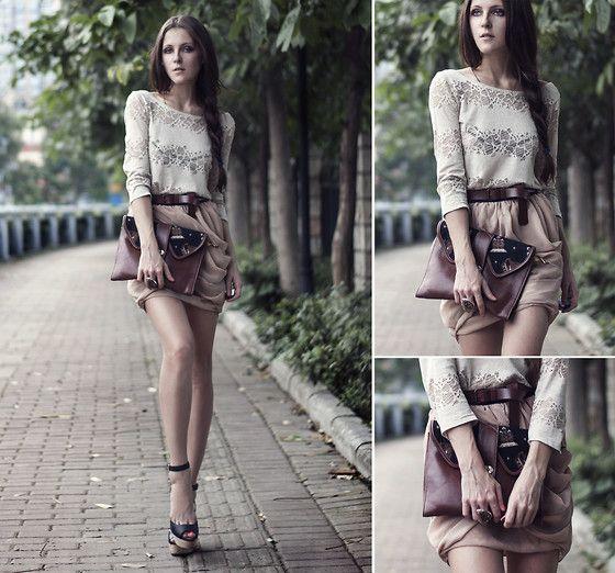 Zara Heels, Neon Rock Shop Skirt, Tako Feito De Mao Clutch