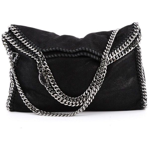 Pre-Owned Stella McCartney  Falabella Fold Over Bag Shaggy Deer ($645) ❤ liked on Polyvore featuring bags, handbags, tote bags, black, tote handbags, stella mccartney tote, stella mccartney purse, silver purse and silver tote bag