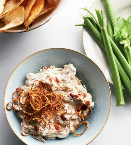 Game-Changing Caramelized Onion Dip with Bacon   This is the French onion dip to end all other French onion dips.   Recipe from Martha Stewart's Appetizers