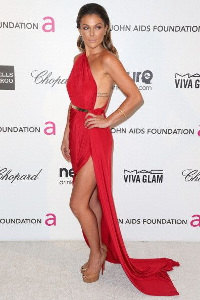 Serinda Swan at Elton John's 2013 Oscars Party - rib tattoo... gorgeous red dress