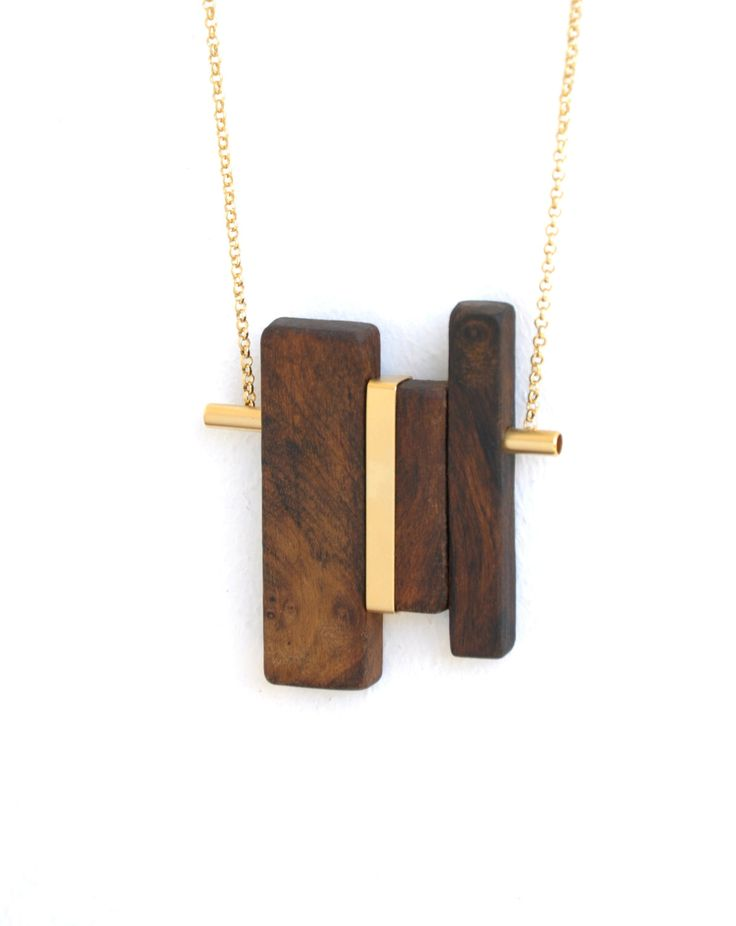10% off - LINE 2 gold.  wood pendant necklace and gold-plated elements.. $79.00, via Etsy.