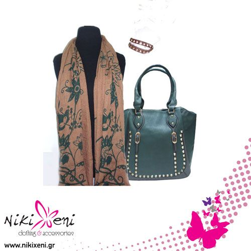 Stensil pattern for the scarf and a leatherette bag with golden pins as well as fitted leatherette bracelet._fashion woman accessories.