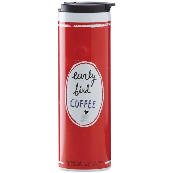 "kate spade new york all in good taste ""Early Bird Coffee"" Travel... ($25) ❤ liked on Polyvore featuring home, kitchen & dining, drinkware, red, coffee travel tumbler, stainless steel drinkware, kate spade, stainless steel travel mug and travel coffee cup"