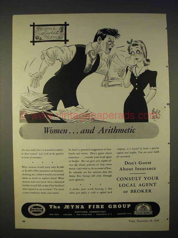 1940 Aetna Fire Group Insurance Ad Women Arithmetic With Images