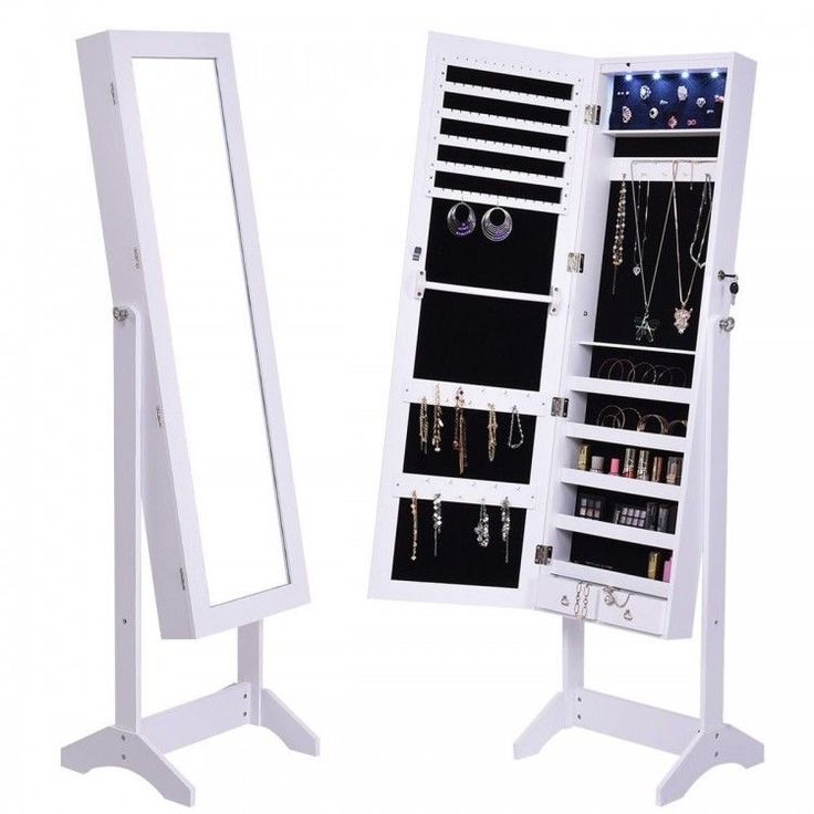 Stand Alone Full Length Dressing Mirror Jewelry Cabinet ...