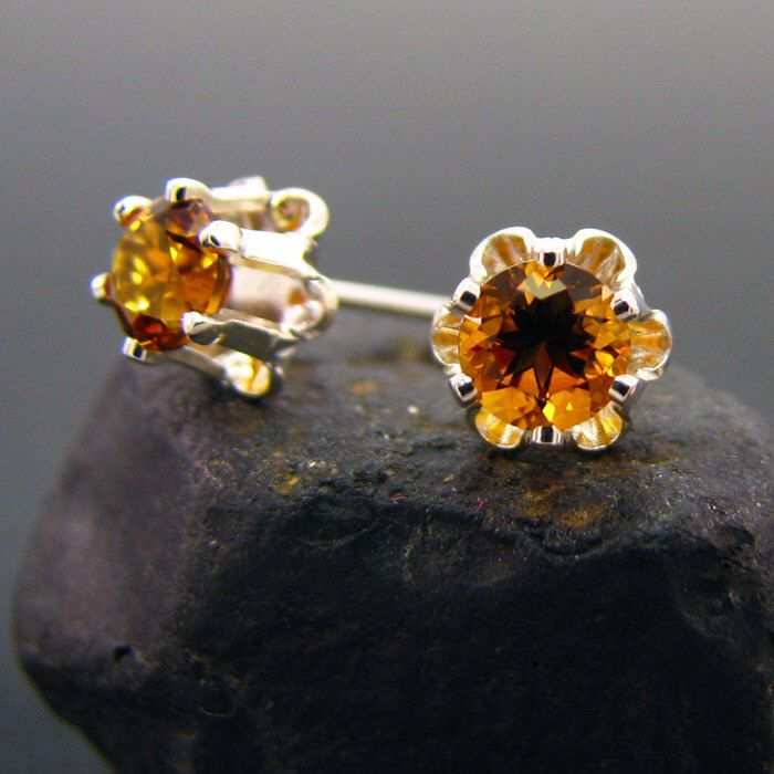 Citrine studs, genuine citrine earring, citrine earrings, natural citrine buttercup studs 4 mm, yellow citrine by MismatchedEarrings on Etsy https://www.etsy.com/listing/223077500/citrine-studs-genuine-citrine-earring
