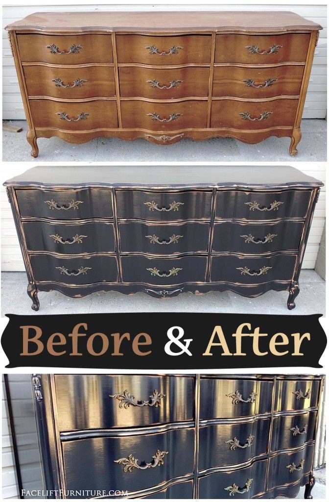 French provincial dresser in distressed black - Before & After from Facelift Furniture