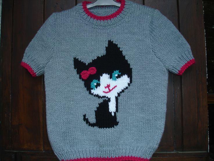 Pull enfant motif chat de 3 ans à 6 ans manches courtes100% fait main : Mode filles par souricette-creation