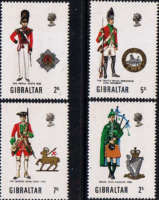Gibraltar 1970 Military Uniforms Set Fine Mint SG 248 51 Scott 234 7 Other British Commonwealth Stamps here
