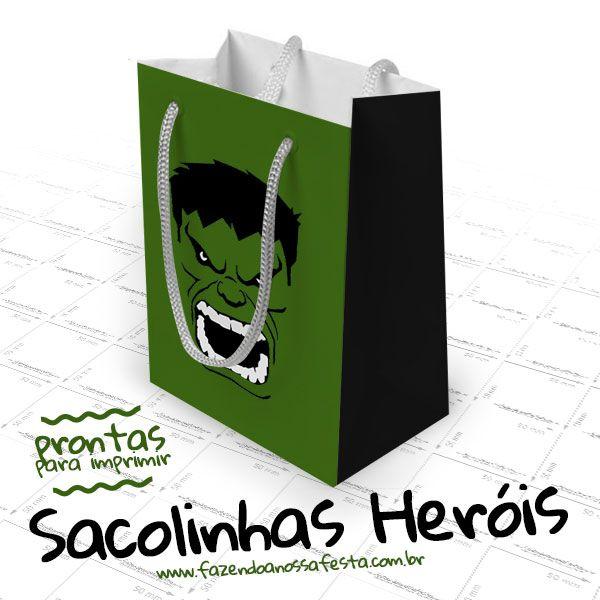 Baixe agora mesmo a Sacolinha Lembrancinha Super-heróis de vários modelos, tem do Capitão América, Thor, Hulk e outros, arrase na sua festa.