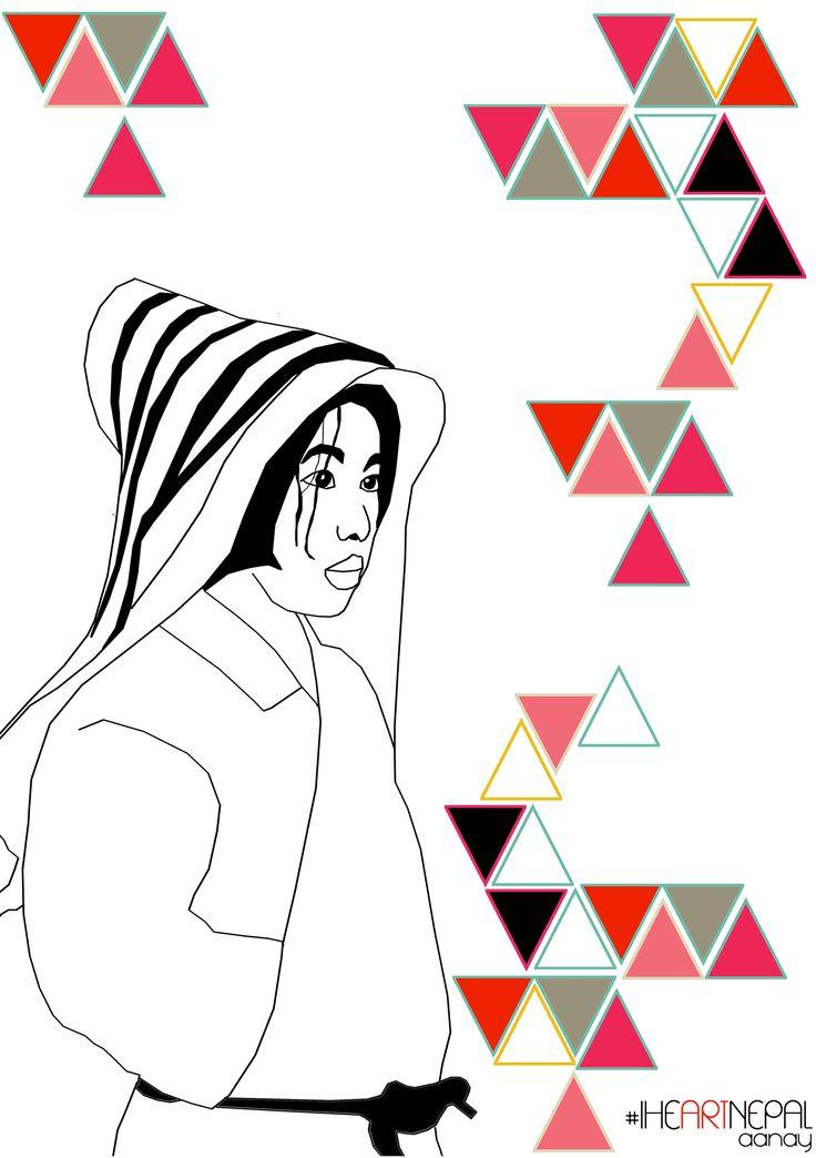 Santi  #Iheartnepal #illustration #triangles #Colour #geometry #boy #kid #aanay