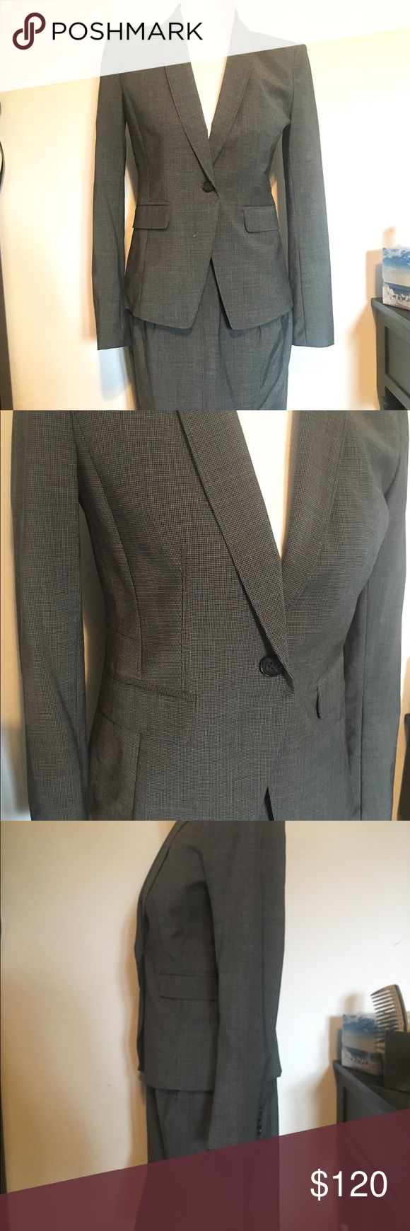 Ann Taylor suit and skirt set grey NWT size 2 / 4 Super smart great fit on both the jacket and skirt. The perfect interview outfit! Overall color is grey with black check. Jacket is a 2 and the skirt is a 4. Never worn. 87% wool with a bit of Lycra. It was originally $189 for the jacket alone! Would be willing to separate. Message for details. Thanks for looking! Ann Taylor Jackets & Coats Blazers
