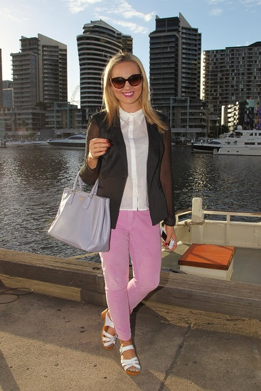 19 Ways to Refresh Your Spring Look, Courtesy of Melbourne Fashion Festival: In this look, pink jeans and a pastel purple Prada purse blended harmoniously, while a black sheer-sleeved blazer added edge.   #streetstyle