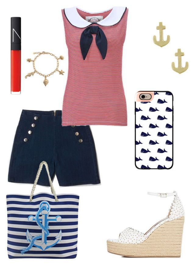 """Nautical look"" by rainbowfra on Polyvore featuring Tabitha Simmons, Jewel Exclusive, Casetify, NARS Cosmetics and Bling Jewelry"