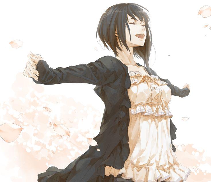 Grin, Female, Solo, Black Hair - Zerochan Anime Image Board