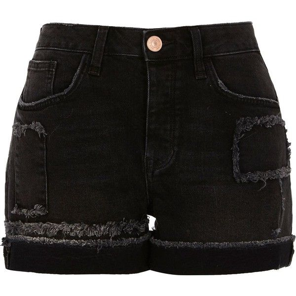 River Island Washed black frayed patch boyfriend shorts ($70) ❤ liked on Polyvore featuring shorts, black, denim shorts, women, destroyed denim shorts, distressed shorts, ripped jean shorts and destroyed boyfriend shorts