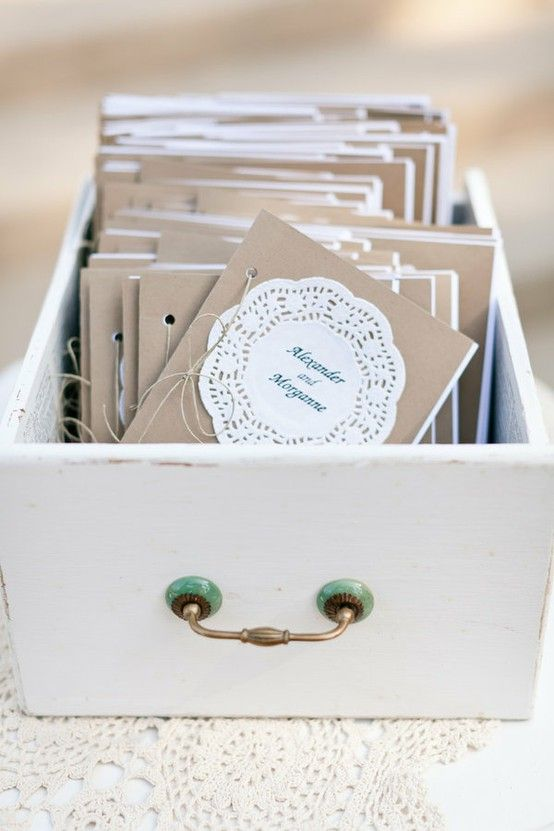 interesting idea...use old drawers from an antique dresser to hold programs, flip flops, ...