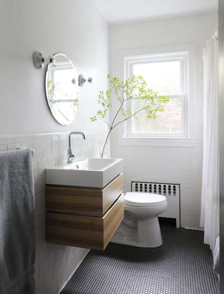 Ore Studios Cape Cod modern - good budget design with Ikea vanity and light bulb sconces