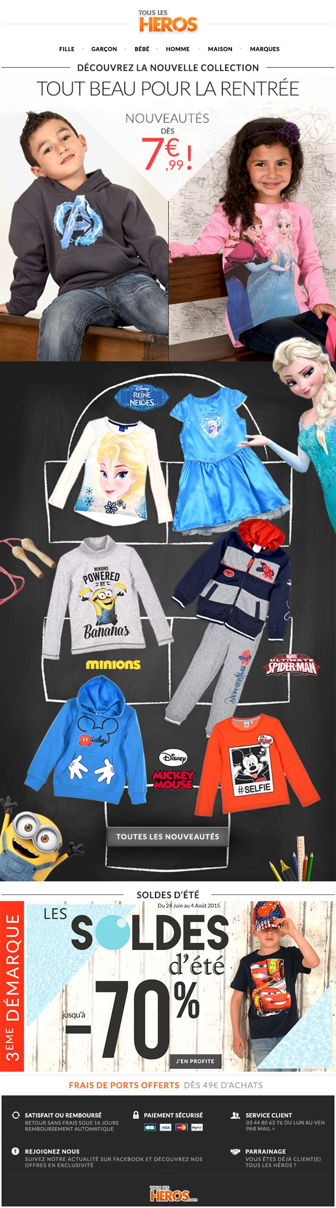 Découvrez notre nouvelle #collection spéciale #rentréedesclasses sur www.tous-les-heros.com #mode #enfants #modeenfants #modeàpetitprix #touslesheros #superheros #heros #lesminions #minions #disney #rentrée