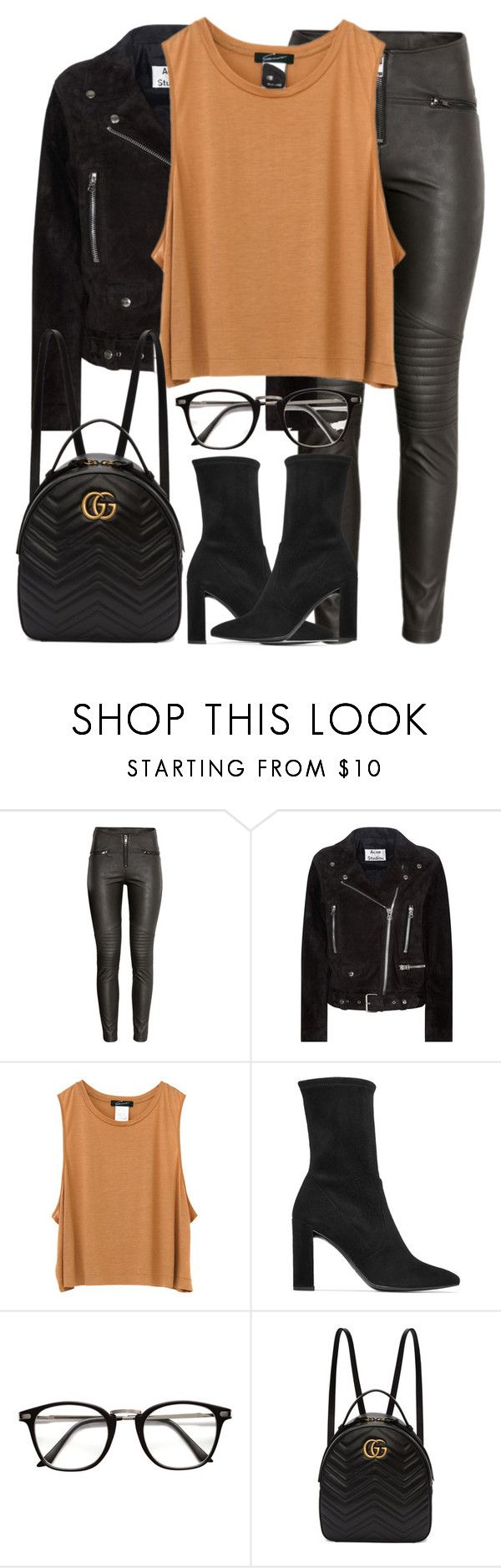 """Untitled #3178"" by elenaday on Polyvore featuring H&M, Acne Studios, Stuart Weitzman and Gucci"