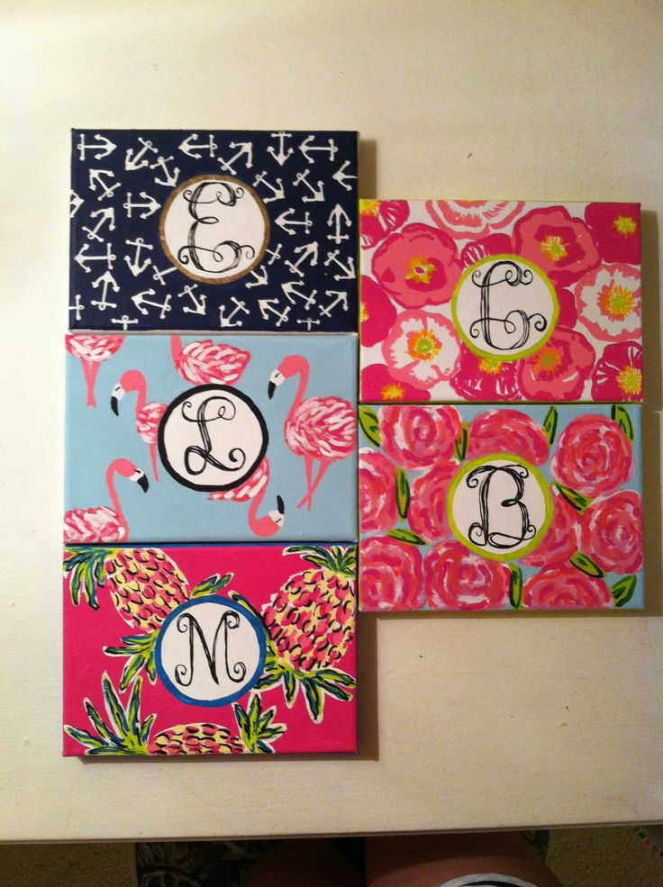 Mini Monogrammed Various Lilly Pulitzer Printed painted canvases - @sarahwatter please for our apartment