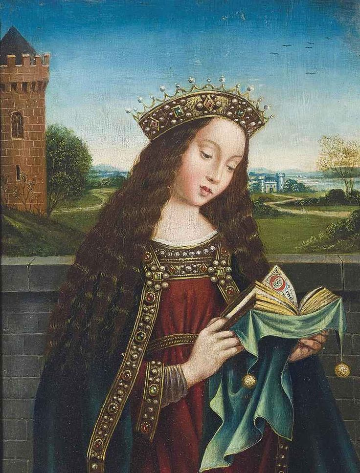 Saint Barbara reading. After Hubert van Eyck (Netherlandish, c.1385 to 1390-1426) and Jan van Eyck.(Netherlandish, before c.1390-1441). Oil on panel. This painting is derived, with numerous differences, from a detail of Hubert and Jan van Eyck's Ghent Altarpiece in the Sint-Baafskathedraal, Ghent.