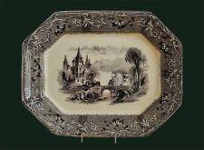 "Mulberry transferware platter, ""Rhone Scenery"" pattern, Circa 1843-1855"