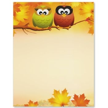 Owls In Autumn Letter Paper | Idea Art