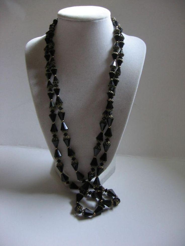 Gorgeous Vintage Double Strand Black Glass Bicone Brass Caps Necklace 1950 | eBay