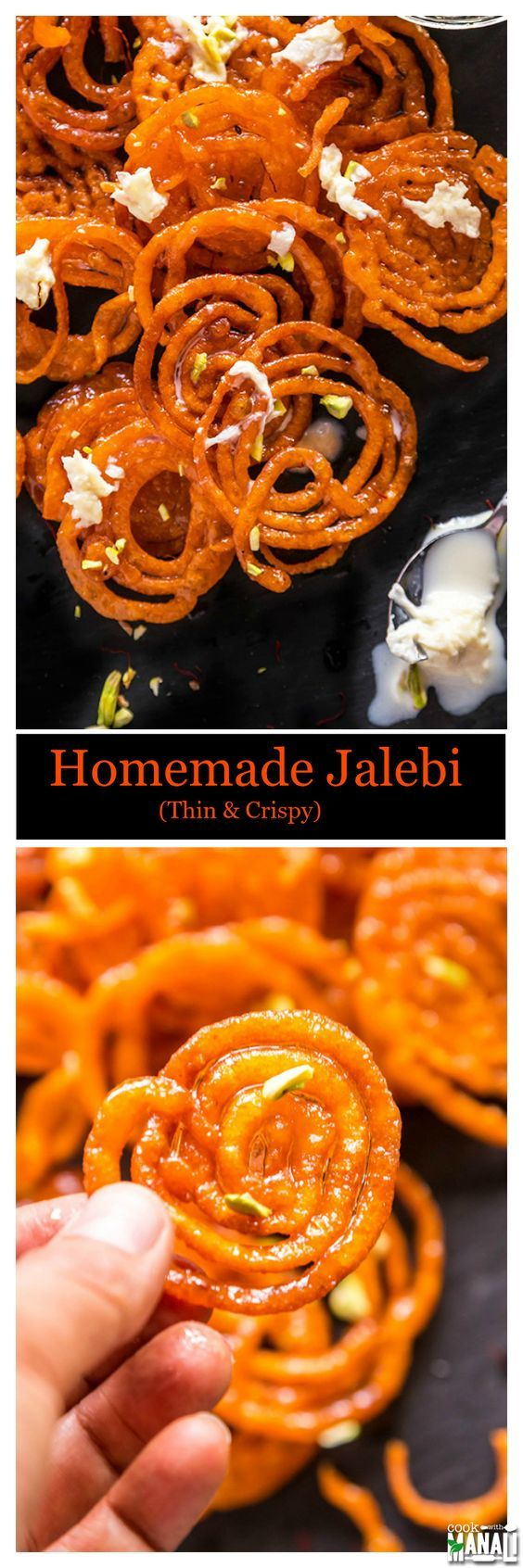 Crispy Homemade Jalebi - Traditional spiral shaped Indian sweet made with flour and dipped in sugar syrup for a special treat! Find the recipe on www.cookwithmanali.com