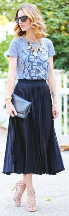 Pleated midi skirt, grey graphic tee, statement necklace-A casual way to wear a midi skirt
