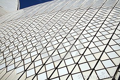 The cream coloured tiles on the roof of the beautiful Sydney Opera House.