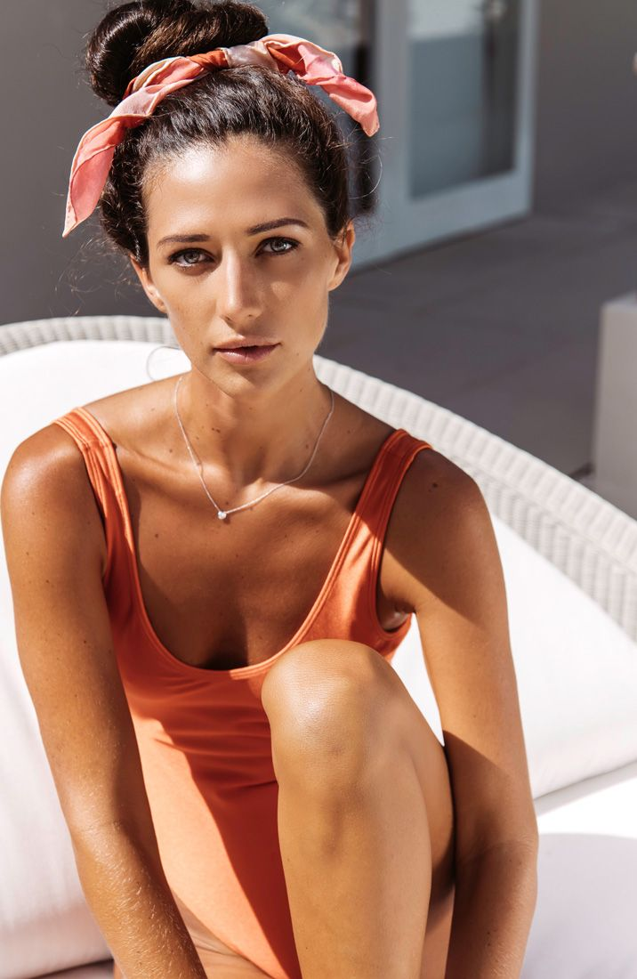 """A silk scarf to tie your hair up is definitely a top choice to stay effortless stylish at the poolside. Alexandra Talifero is gorgeous with her silk scarf """"Bubble Gum Seine"""" in crêpe de chine from a friend of mine."""