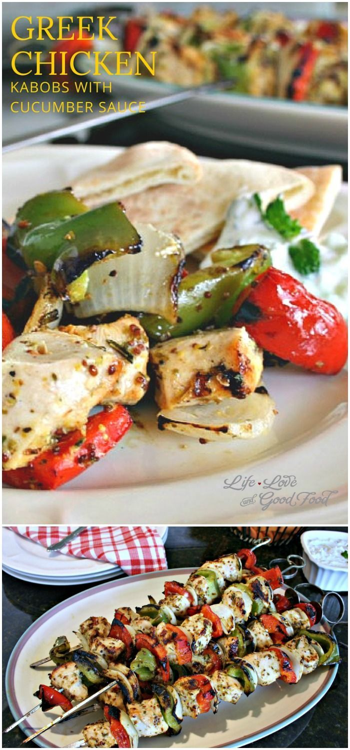 Greek Chicken Kabobs with Cucumber Sauce | Life, Love, and Good Food #recipe #healthy #dinner #chicken #meal