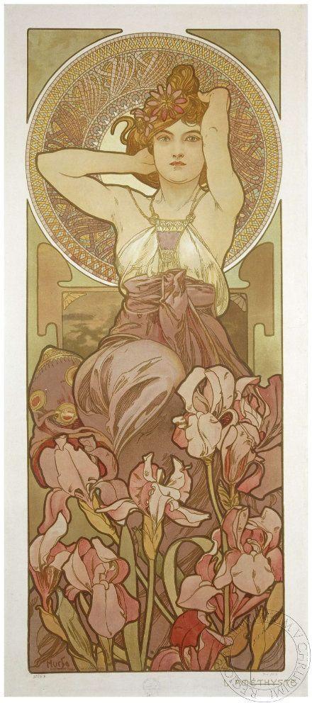 Drahokamy jsou znázorněné ženou provokativně hledící z plakátu na diváka, kolem hlavy je mozaikovitá aureola, v dolní části plakátu jsou květy v barvě typické pro ametyst.