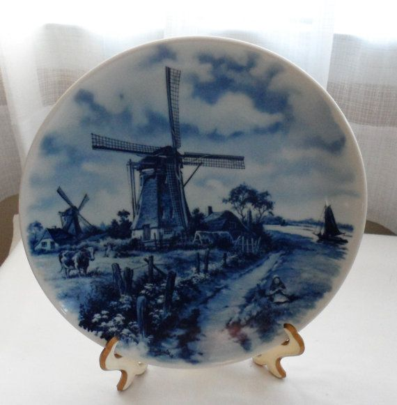 """Vintage 1970's Delft Blauw 9"""" Wall Plate Hand Decorated signed J. Carl Vd. Hunnik Made in Holland Dutch Windmill Country Scene"""
