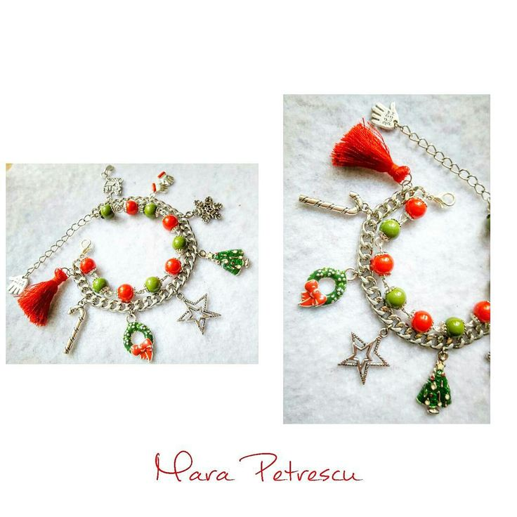 First red and green handmade Christmas bracelet this year❤🎄