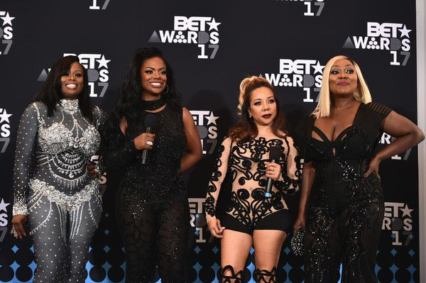 LaTocha Scott Photos - (L-R) Tamika Scott, Kandi Burruss, Tameka Cottle and LaTocha Scott of Xscap pose in the press room at the 2017 BET Awards at Microsoft Theater on June 25, 2017 in Los Angeles, California. - 2017 BET Awards - Press Room
