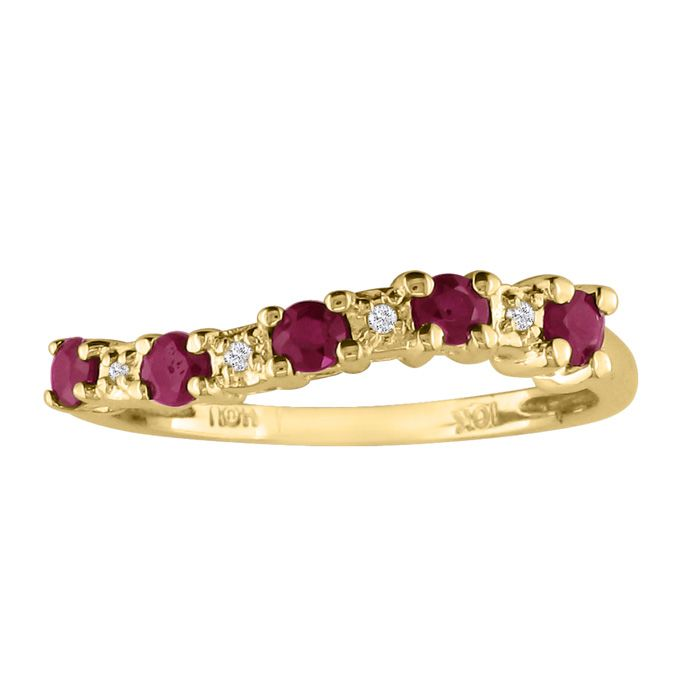 1/3ct Ruby Journey Diamond Ring In 10k Yellow Gold