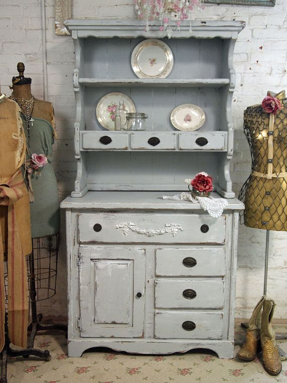 Vintage Painted Cottage Grey Farmhouse Hutch By Paintedcottages