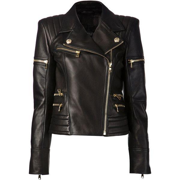 Balmain Women Black Leather Biker Jacket found on Polyvore featuring outerwear, jackets, balmain, leather jackets, tops, black, real leather jacket, balmain jacket, black jacket and padded motorcycle jacket
