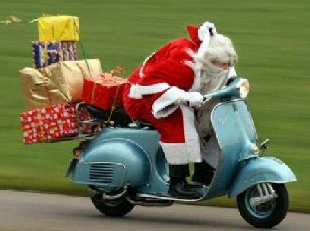 Merry Christmas - Santa On A Scooter -