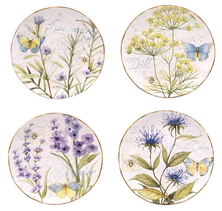Herb Garden Assorted Set of 4 Ceramic Dessert Plates , 43181STCTD   Lang