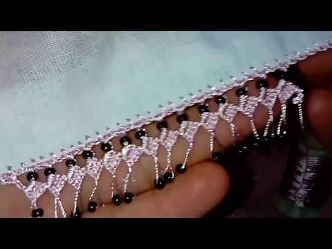 Kesme boncuklu şiş oyası yapılışı - YouTube