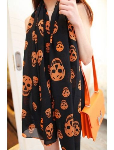 Fashion Skull Pattern Long Scarf- black and orange| Scarf | Accesories | StringsAndMe