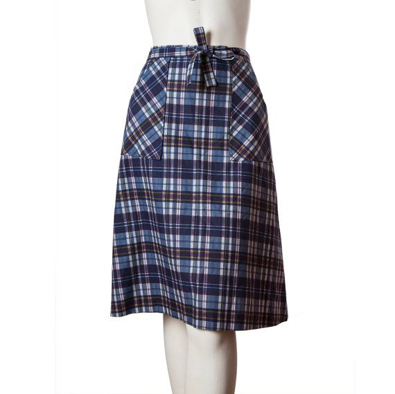 Vintage plaid wrap skirt  1950s skirt  60s a-line by vintagefrenzy