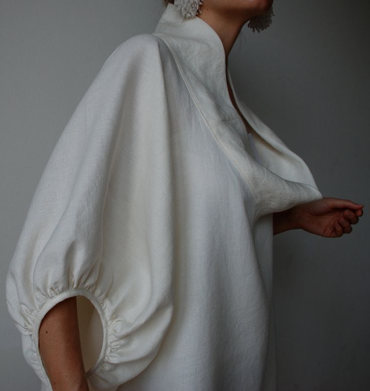 Cream winter white linen smock frock / top. Plus size and maternity, scoop neck…