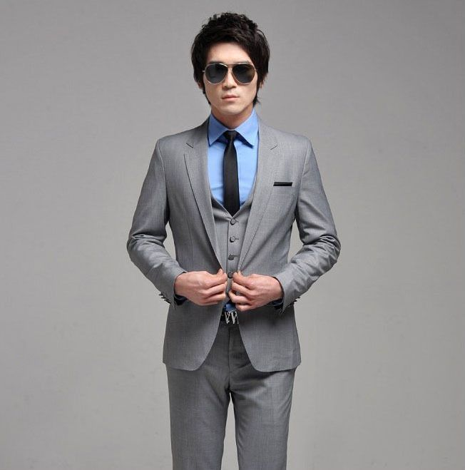 grey suit light blue shirt dark navy skinny tie