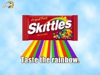 "Example of Slogan. ""Taste the rainbow."" from Skittles"