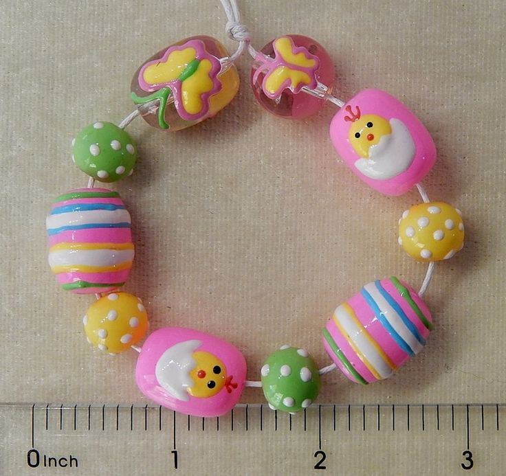 hand painted pastel spring butterfly easter egg chick dots lampwork glass beads